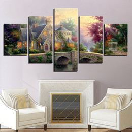 $enCountryForm.capitalKeyWord Australia - Canvas Paintings Home Decor Living Room Wall Art Framework 5 Pieces Bridge Posters HD Prints Classic Cottage Landscape Pictures