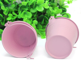 Discount tin buckets favors - 12Pcs Cute Pink Metal Bucket Chocolate Favors Tin Pails Keg Gift Candy Box Wedding Party Supplies DIY Decoration