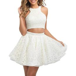 61b7c400f1 Encantador 2 unidades vestidos de fiesta cortos 2018 Sexy Backless perlas  Mini graduación Prom vestido de cóctel para la fiesta de las mujeres usan  barato