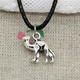 $enCountryForm.capitalKeyWord NZ - New Fashion Tibetan Silver Pendant lovely camel 15*14mm Necklace Choker Charm Black Leather Cord Handmade Jewelry