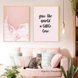 Art Canvas Prints Australia - Pink Art Dream White Feather Abstract Nordic Posters And Prints Wall Art Canvas Painting Wall Pictures For Living Room Unframed