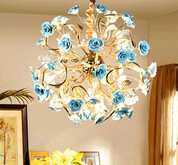French iron chandeliers online shopping - French idyllic crystal restaurant Hot sale of new products chandelier smart clothing store living room rose tree iron chandelier LLFA