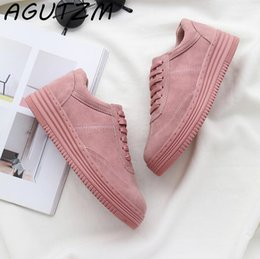 12ead5090 2019 AGUTZM Genuine Leather Women Sneakers Fashion Pink Shoes for Women  Lace up White Shoes Creepers Platform Shoes Size 35-41 Sneakers