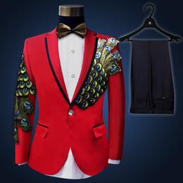 Royal Performance Suits Australia - 2017 Black Sequined Mens Wedding Suits (Jacket+Pants) Fashion Slim Paillette Embroidered Party Prom Performance Men Suit Blazers