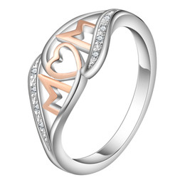 Whole SaleHainon Love Mom Rose Gold Color Rings For Women Shiny Zircon Rhinestone Ring Jewelry Mothers Day Birthday Gift