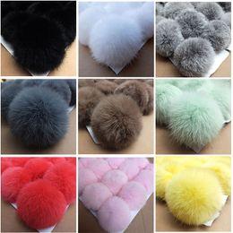 Rabbit Hair Diy Australia - 8CM~9CM Big Natural Fur PomPom DIY KeyChain Rabbit Hair Bulb Bag pom pom Ball key chain Pendant poret clef for DIY leather ball