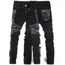 $enCountryForm.capitalKeyWord UK - Korean New fashion cool Punk pants men with leather zippers Black Skinny tight Plus size 32 33 34 36 Rock trousers