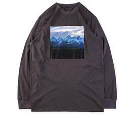 China New High Street Kanye West Tees Mens Mountains Pattern I Hate Being Bi-Polar Print Long Sleeved T-shirt Women Hip Hop Tees Lovers Tops cheap pattern tees hip hop suppliers