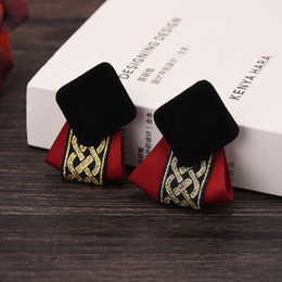 Wholesale Korean Japan New Exaggerated charm Big square plaid black Button femme concise Red earings personality ribbon Earrings for women
