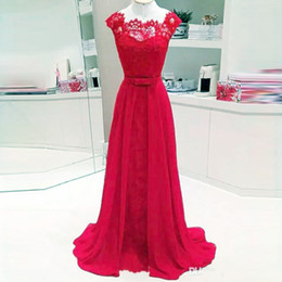 $enCountryForm.capitalKeyWord Australia - Hot Selling Red Long Evening Dresses Lace Chiffon Simple Elegant Prom Dress for Bridesmaid Guest Maxi Gowns Flowing Custom Made Wholesale