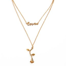 China Necklace love rose pendant double necklace neck chain multi-layer chain wholesale suppliers