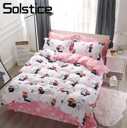 Ivory Linen Suit Canada - Solstice Home Textile White Pink Cute Cat Kitty Pillowcase Sheet Duvet Cover Sets Girl Adult Teen Bedding Linens Suit King Queen