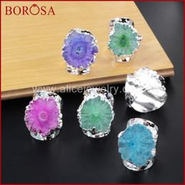 Flower Druzy Canada - BOROSA 5Pcs Rainbow Silver Color Sun Flower Quartz Stone Ring Druzy Bang Rings, Flower Solar Quartz Band Ring Geode Rings S0308