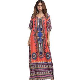 Printed Indian Dress UK - New summer autumn big size Womens clothing Floor-Length Maxi Dress O-Neck Printed Ethnic Robe Vestidos Long Indian dashiki dress