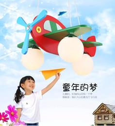 Discount girls bedroom chandelier - Cute little aircraft lamp children's chandelier Creative cartoon bedroom lamp boy girl room children's clothin
