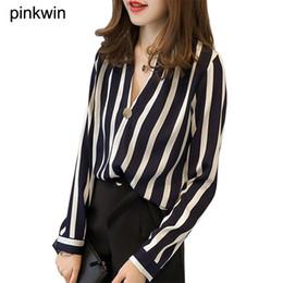 $enCountryForm.capitalKeyWord Canada - Korean Style M-4XL Plus Size Womens Chiffon Striped Blouses Shirts Long Sleeve V-Neck Stripes Blouses Casual Female Tops