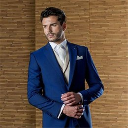 $enCountryForm.capitalKeyWord Canada - Blue Tailor Made Men Suit Terno Slim Fit Handsome Formal Blazer 3Pieces Wedding Custome Homme Tuxedos Jacket+Pant+Vest