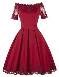 Short Red Lace Prom Vintage Dress UK - Red Lace Formal Evening Dresses Women's Ball Gown Short Sleeve Bridal Gown Special Occasion Prom Bridesmaid Party Dress 17LF429