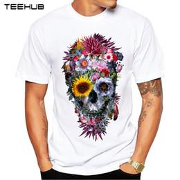 SkullS flowerS Sleeve man online shopping - 2017 Men T Shirts Fashion Voodoo Skull Design Short Sleeve Casual Tops Hipster Flower Skull Printed T Shirt Cool Tee