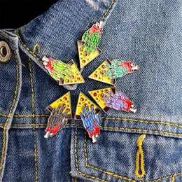 Wholesale Zombie Hand Pizza Pin Set Enamel Brooch Pins Jacket Coat Collar Pin Badge Friendship Jewelry Gift For Best Friends Men