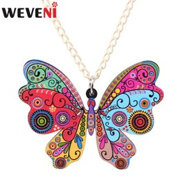 Wholesale WEVENI Acrylic Butterfly Necklace Insect Pendant Chain Choker Animal Unique Fashion Jewelry For Women Girl Accessories