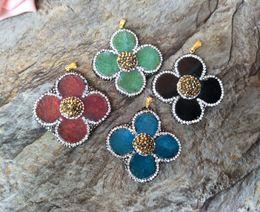 $enCountryForm.capitalKeyWord Canada - 8pcs Mix Color Druzy Stone Pendant,flower shape Jewelry Charm,Pave Crystal Quartz Slice DIY necklace Women Jewelry Finding PD622