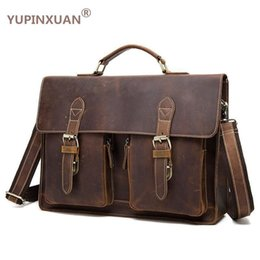 5d5ce303240 YUPINXUAN Vintage Crazy Horse Briefcases Men Genuine Leather Messenger Bags  14