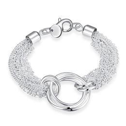 7f992351315c Multi line tres vueltas pulsera plata 925 pulsera JSPB299 recién llegada  niñas mujeres plata esterlina chapada pulseras de eslabones