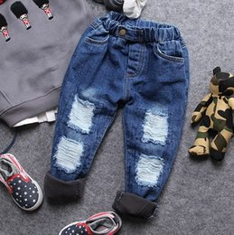 thick boys pant Australia - only jeans 1pc 2-8Y new 2017 autumn winter boys casual hole thick fleec inside warm denim pant kids winter jeans children pant