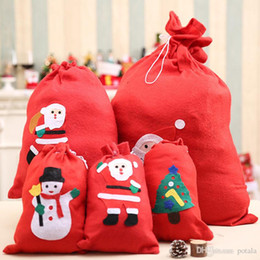 Kids Educational Gifts NZ - 40*60CM Christmas Gift Bags Large Organic Heavy Canvas Bag Santa Sack Drawstring Bag With Reindeers Santa Claus Sack Bags for kids Xmas fun
