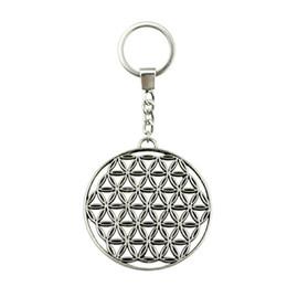 $enCountryForm.capitalKeyWord UK - 6 Pieces Key Chain Women Key Rings Car Keychain For Keys The Flower Of Life, The Seed Of Life 48x44mm