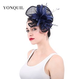 2018 New Elegant Top Quality Navy sinamay Fascinators Wedding church Hats  For Women Vintage feather cocktail Headpiece SYF300 aedd74774c96