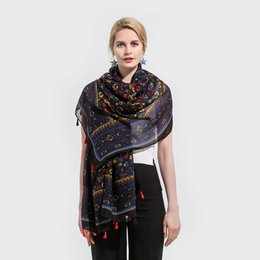 8c09ed5d93c Winfox New Brand Women Ladies Fashion Multicolor Black Yellow Color Floral  Long Shawl Wrap Flower Scarves With Tassel
