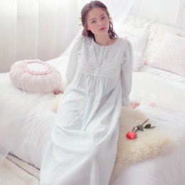 dd654ff02b Spring Autumn Retro Royal Princess Nightdress Cotton Nightgowns Vintage  Cotton Elegant Sexy Lady Long Sleeping nightgown Lounge