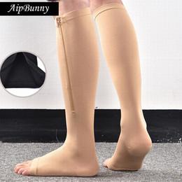 3c1953dc2100ca AipBunny Women Men Zipper Compression Zip Leg Support Knee Stockings Sox  Open Toe Burn Fat varicose veins Stockings