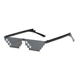 China Mosaic sun glasses men's sunglasses with cool pop glasses thug life 8-bit pixel single row double row mosaic sunglass cheap wholesale pixel sunglasses suppliers