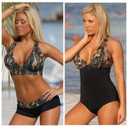 f8b124f00fb99 20pcs Sexy Halter Bikini Set Swimwear Women Push up Swimsuit Camouflage  Print Beach Bathing Suits MMA205