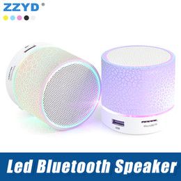 Player A9 NZ - ZZYD Wireless Led Bluetooth Speaker Portable A9 mini Loudspeakers Support TF SD Card Music player For iPhone X Note8 Smart Phone