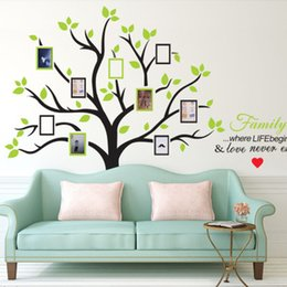 Cartoon Designs Wall Photos Australia - Wholesale 216*209cm Photo Tree Wall Stickers with Picture Frame Wallpaper Wall Art for Home Decor Kitchen Accessories Household Suppllies