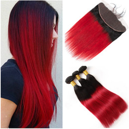 Red Human Hair Bundles Lace Frontal NZ - Peruvian Ombre Red Virgin Hair Weaves with Frontal Closure Straight #1B Blue Ombre Human Hair Bundles Deals with Full Lace Frontal 13x4