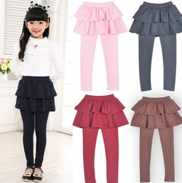 fake tights Canada - Girl baby pants kids leggings new arrival spring autumn girls leggings Girls Skirt-pants Cake skirt Fake two pieces
