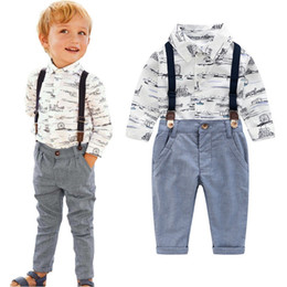 Wholesale boys zebra t shirts for sale – custom Vieeoease Boys Sets Floral Baby Clothing Autumn Long Sleeve Print T shirt Overalls Children Outfits EE