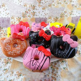 Squishy Charms Wholesale Australia - 2018 Jumbo Hello Kitty Donut Squishy slow rising Cell Phone Charm Emotional venting tool packages food toys kitchen