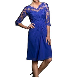 China Royal Blue Lace Short Chiffon Mother Formal Wear With Half Sleeve Party Wedding Guest Dress Evening Mother Of The Bride Dress Suit Gowns cheap lace half sleeve knee length dress suppliers