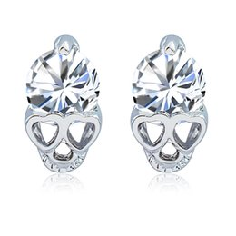 Skull Earrings for Women Cute Heart Eyes Earrings Girl Small Jewelry Rose Gold  Color Trendy Shining CZ Crystal Stud Earrings Brincos Gift 17de39ec992f