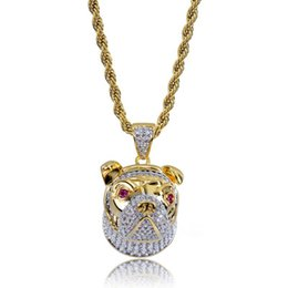 Link two online shopping - mens necklace hip hop jewelry two color Zircon iced out chains Retro High grade cute dog Pendant necklace stainless steel jewelry