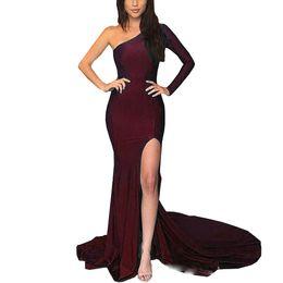 af1a92c2548 Dark Green Side Split Prom Dresses 2018 One Shoulder and Sleeve Mermaid  Zipper Back Evening Gowns long dress party grace karin