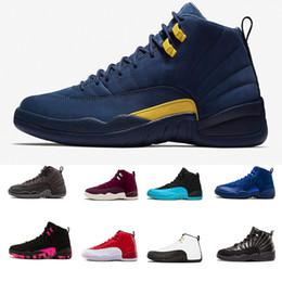 wholesale dealer 426d8 f1b1f (Mit Box) Großhandel 12 Basketball Schuhe Doernbecher Michigan blau Männer  Sportschuh TAXI Playoff BLACK Wildleder Sport Athletic Trainer Sneakers
