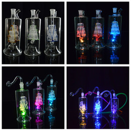 """$enCountryForm.capitalKeyWord NZ - 5"""" Led Dab Rig Water Pipes Bongs Sailboat LED Glass Hookahs Oil Concerntrate Smoking Pipe with Inline Hammer Perc Portable Bubblers Oil Rig"""