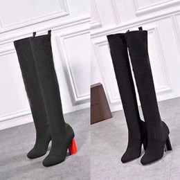 783ed548cdad 2019 Designer women s heels in autumn and winter Knitted elastic boots Sexy  socks and Knee Boots Fashion stockings shoes brand Long boots